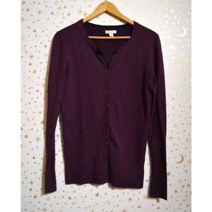 Merona Purple Button Down Cardigan Sweater XS